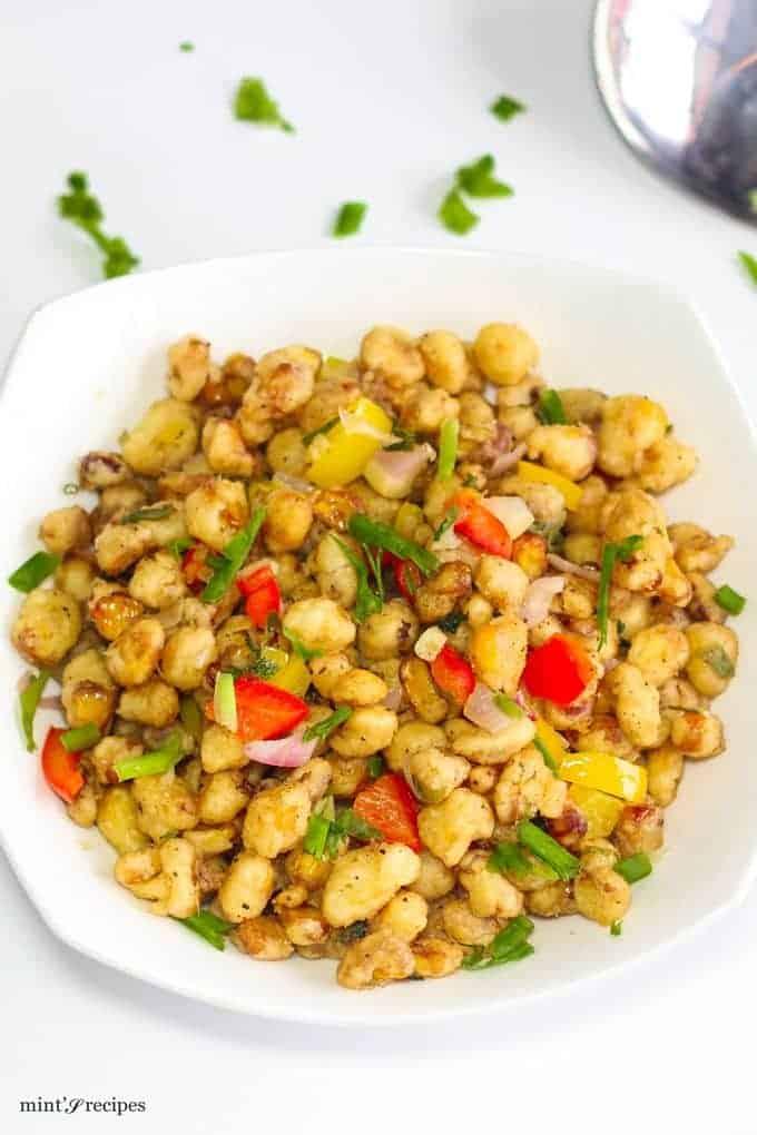American Crispy Corn Kernel on a white bowl