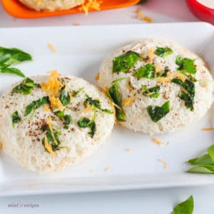 Bread Idli on a white tray