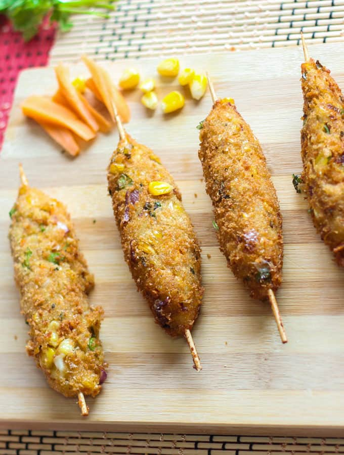 Crispy Cheese Corn Kebab Recipe
