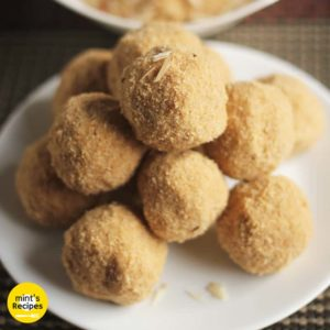 Rajasthani Churma Laddoo on a white plate