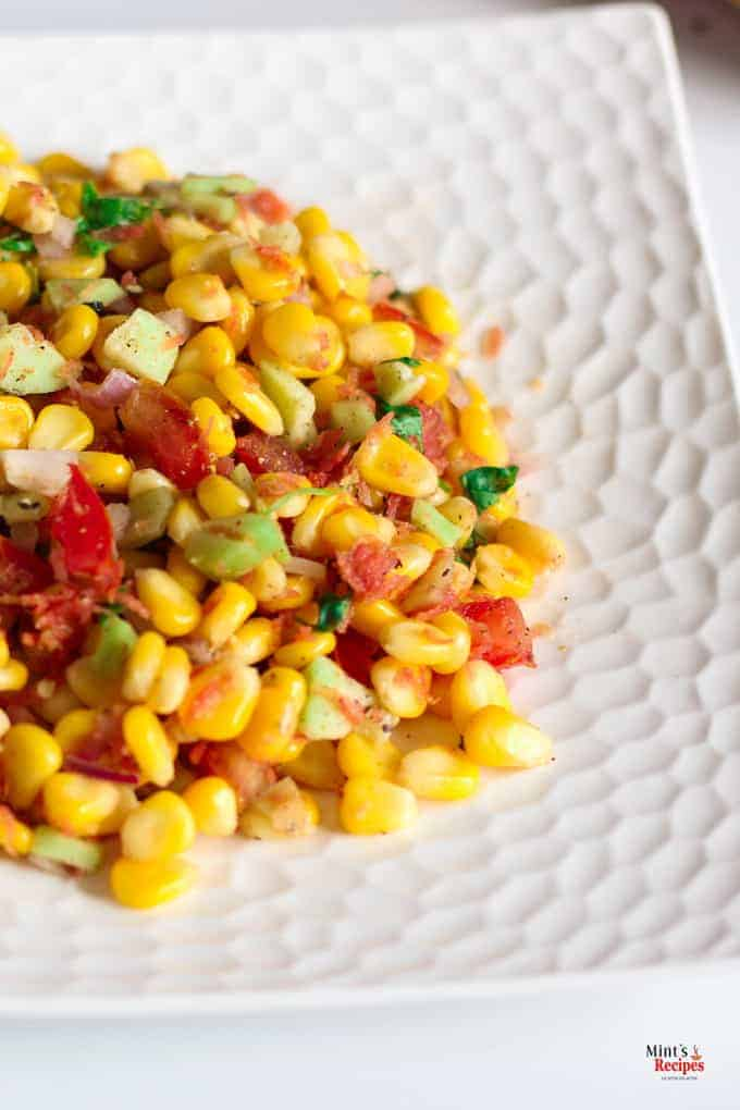 Corn Salad placed on white plate