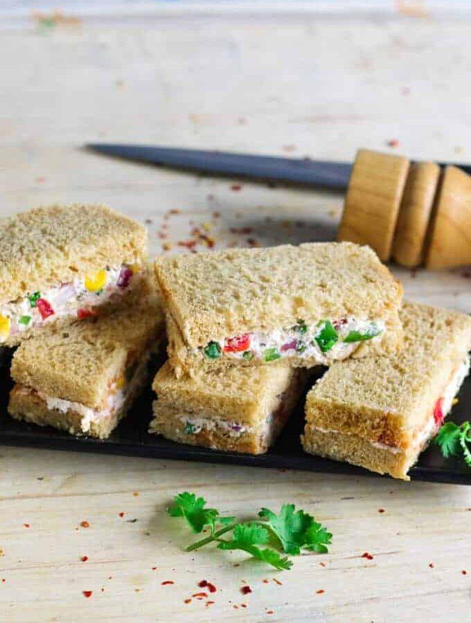Cheese Cream Sandwich Recipe | Indian Sandwich Recipes
