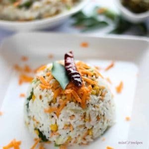Curd rice on a white tray