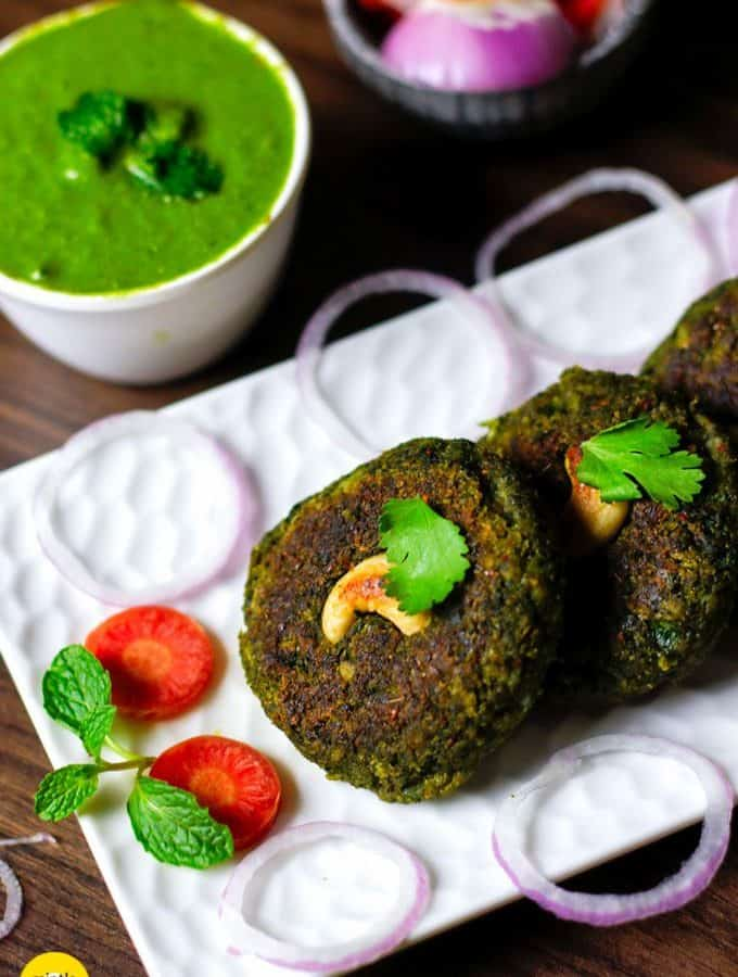 Veg Kabab on a white plate