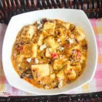 Khoya paneer served in a white bowl