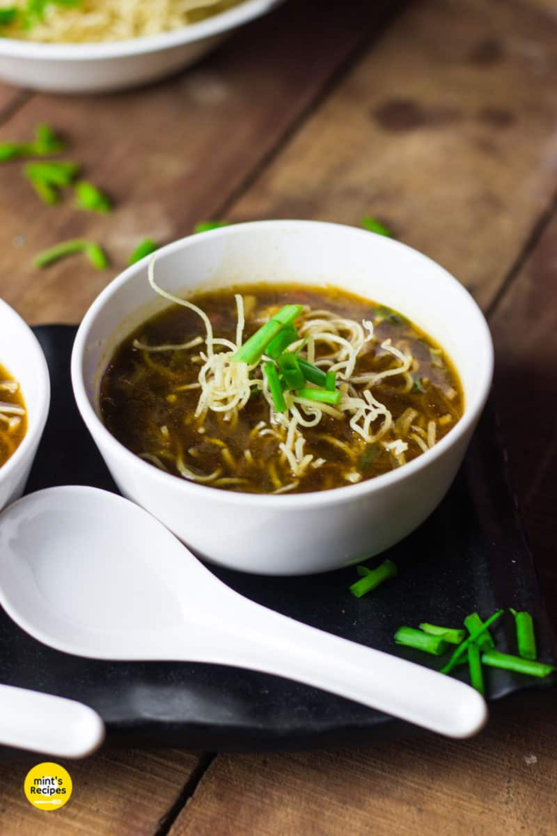 Vegetable Manchow soup served with noodles