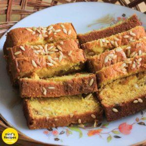Eggless Mango custard cake slices on a floural printed plate