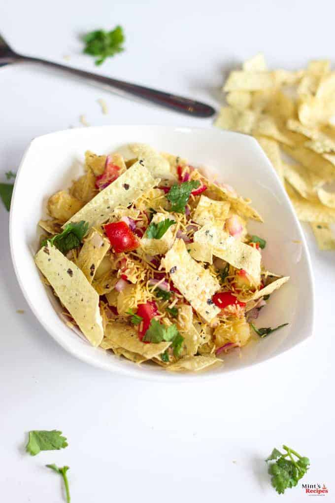 Papad Bhel on a white plate