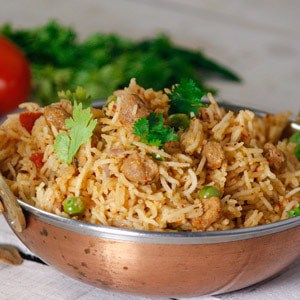 Soyabean chunk pulao served in a bowl