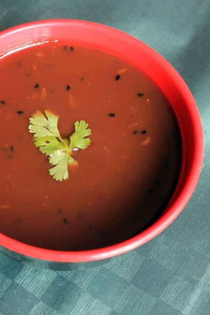 Tamarind chutney on a red bowl