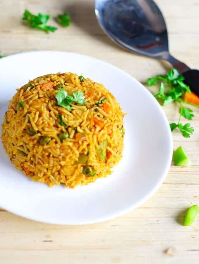Tawa Pulao on a white plate