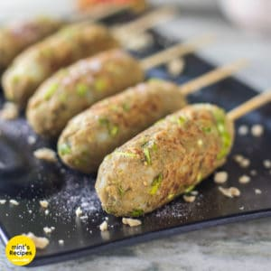 Veg Soya Kebab on a black tray