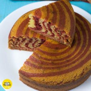 Eggless Zebra Cake Recipe cut into slices