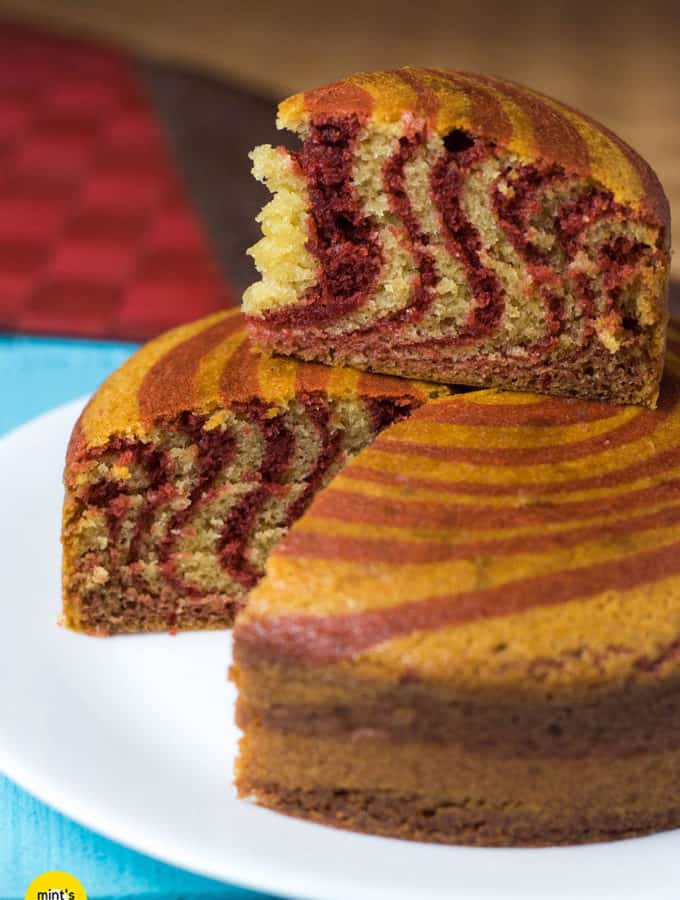 Eggless Zebra Cake Recipe for Desserts