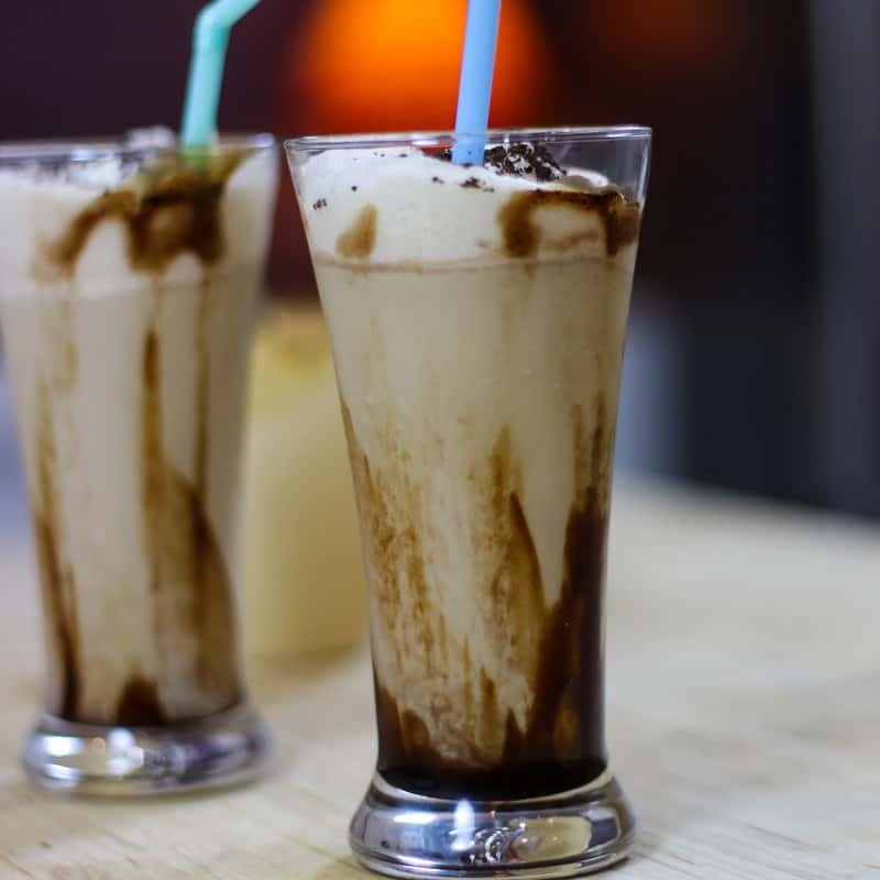 Cold Coffee with Icecream on a glass