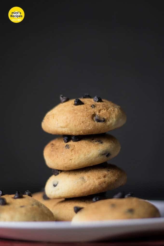 Choco Chips Cookies served on a white plate