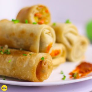 Veg Spring Rolls served with chutney