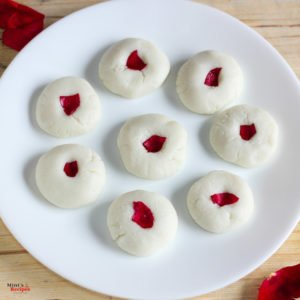 Rose Sandesh on a white plate