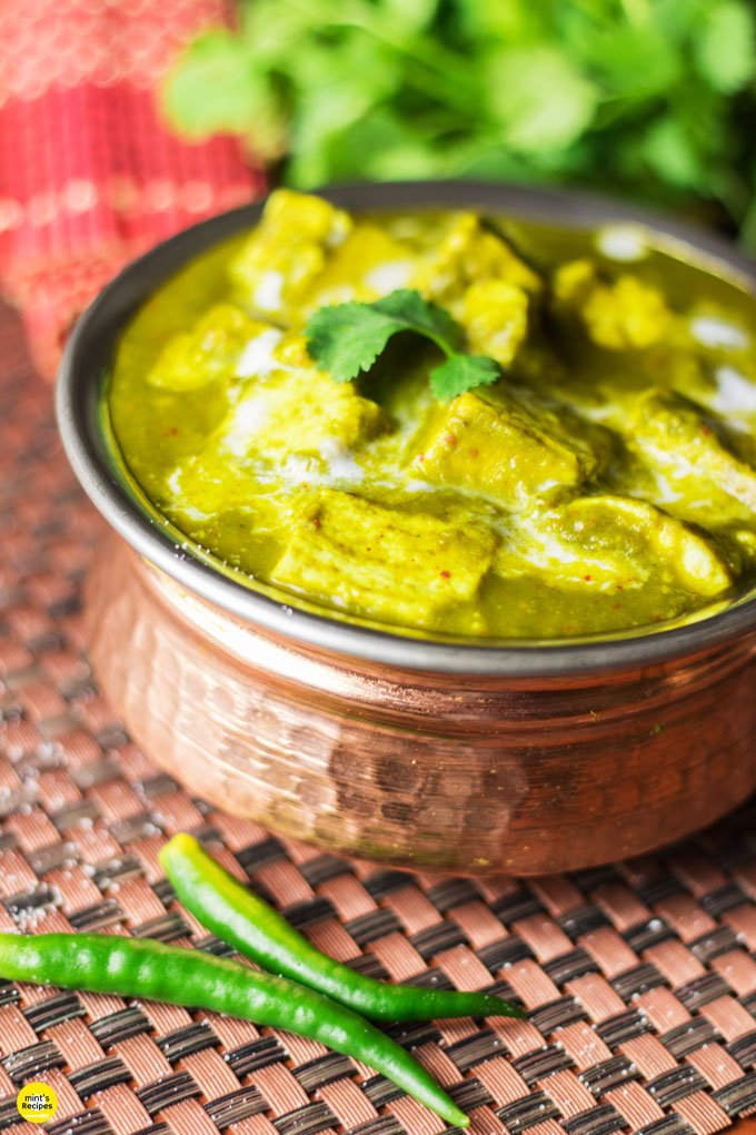 Palak paneer on a heavy vessel