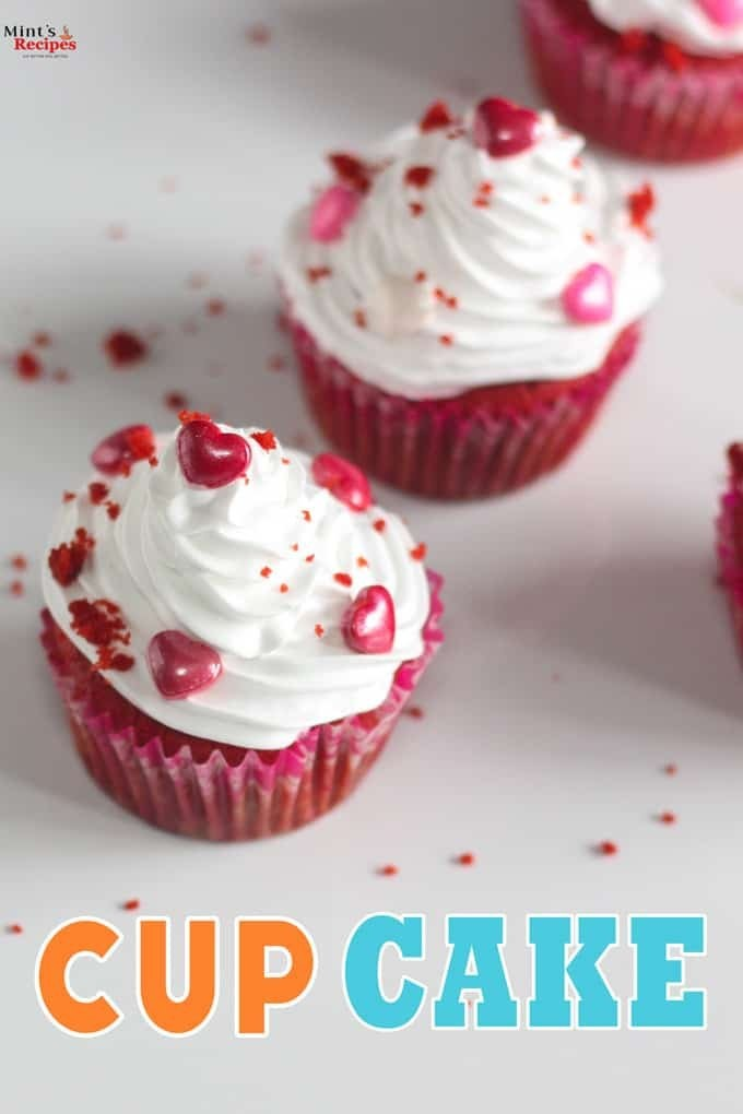 Red Velvet Cup Cake with wonderful white cream cheese icing layering it