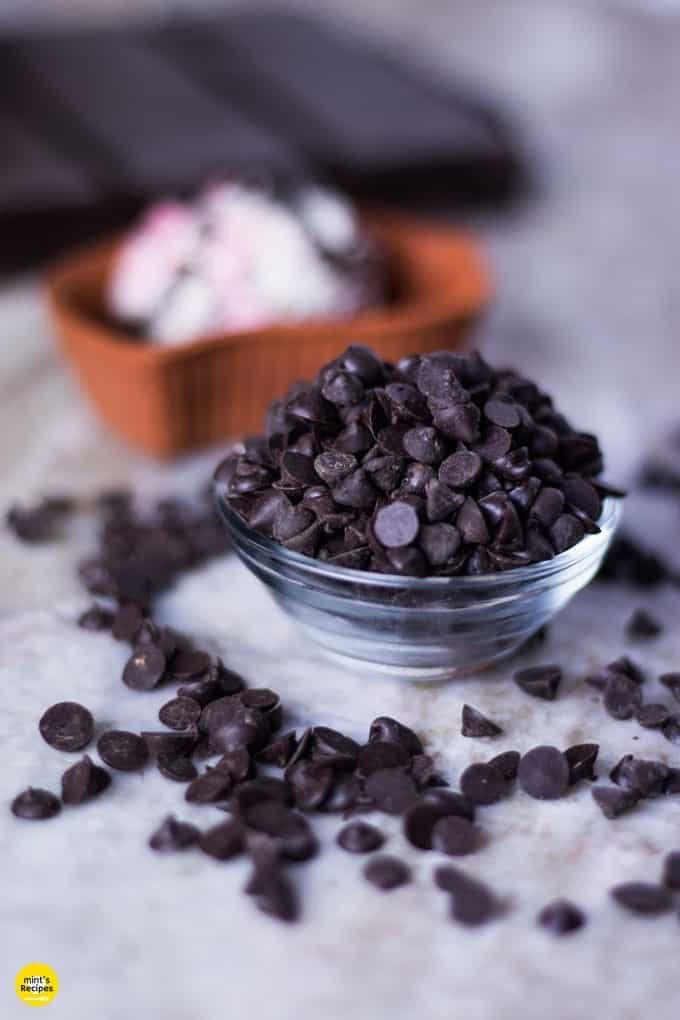 Choco Chips served on a glass bowl